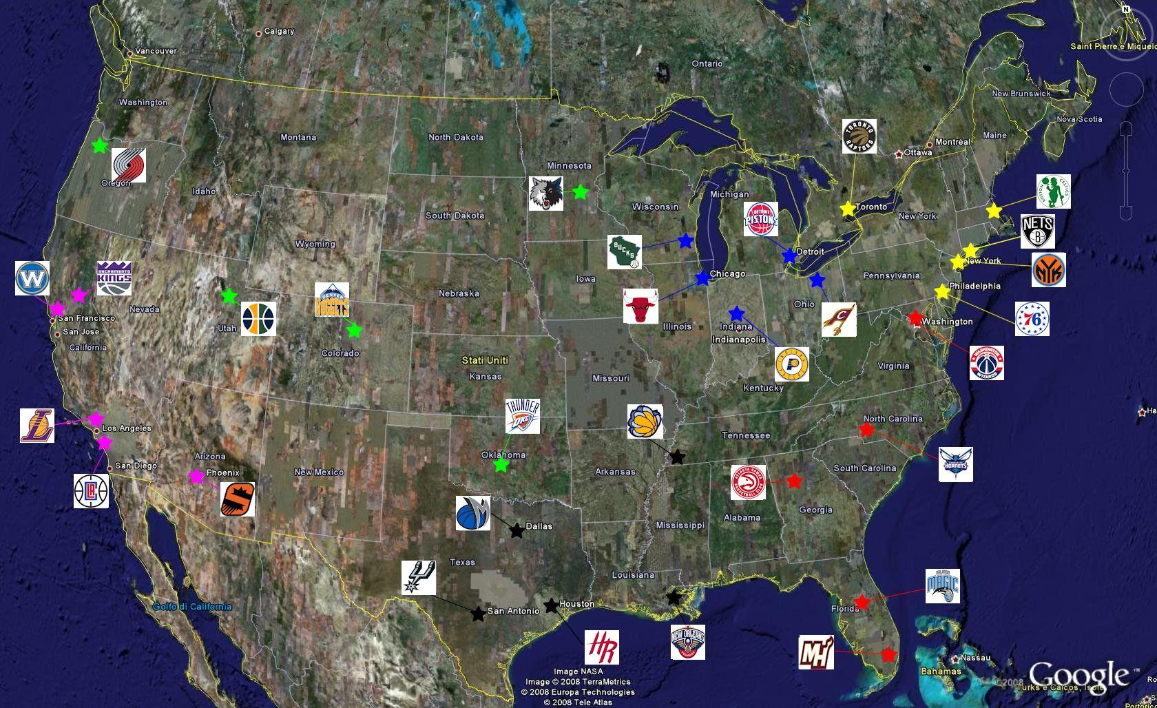 Nba Geo: la geografia delle 30 squadre NBA